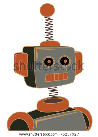Retro cartoon robot portrait chunky line illustration - stock vector