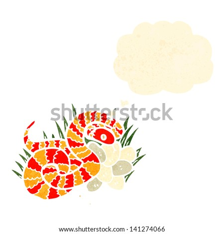 retro cartoon snake and nest of eggs - stock vector