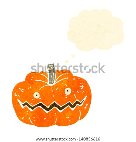 retro cartoon spooky pumpkin - stock vector