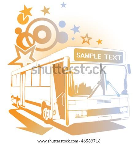 Retro cheerful bus - stock vector