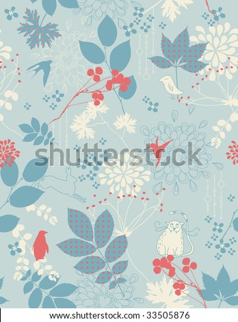 retro children's background with animals and floral elements - tiles seamlessly - stock vector