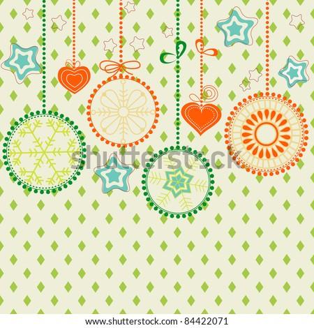 Retro Christmas background - stock vector