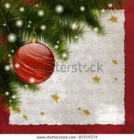Retro Christmas background with pine, ball, stars, lights and copy space