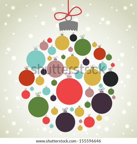 Retro Christmas background with the xmas baubles. Christmas bauble shape made of colorful balls. - stock vector