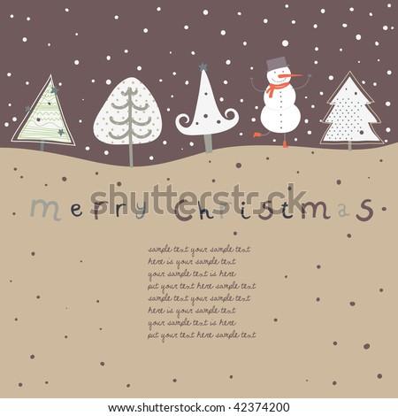 Retro christmas card. Cartoon vector illustration - stock vector