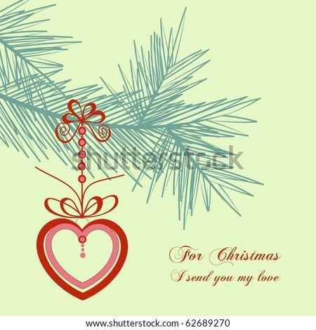 Retro Christmas card, love message - stock vector