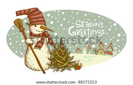 Retro Christmas card, Snowman beside christmas tree. - stock vector