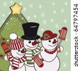 Retro Christmas card with a family of snowmen. - stock vector