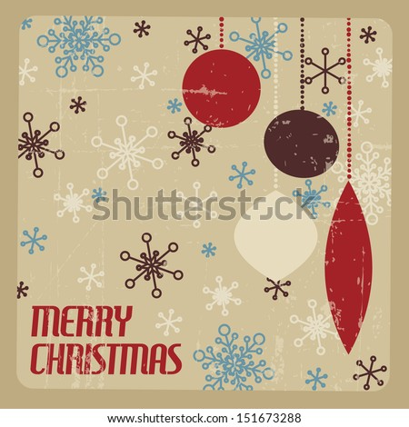 Retro Christmas Card With Decorations And Snowflakes