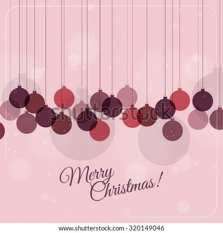 Retro Christmas card with christmas decorations vector illustration eps 10 - stock vector