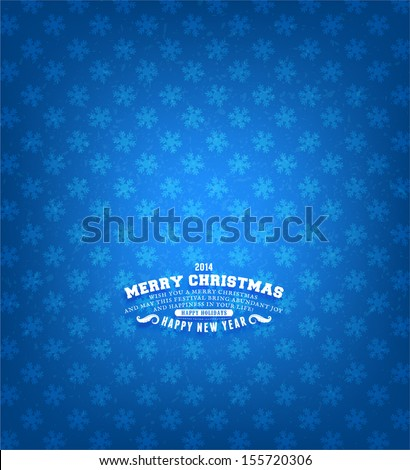 Retro Christmas Card with Seamless Snowflakes Pattern - stock vector