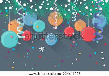 Retro christmas card with spruce, confetti, christmas balls and snowflakes - vector illustration - stock vector