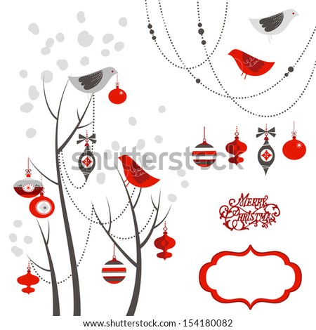Retro Christmas card with two birds, white snowflakes, winter trees and baubles  - stock vector