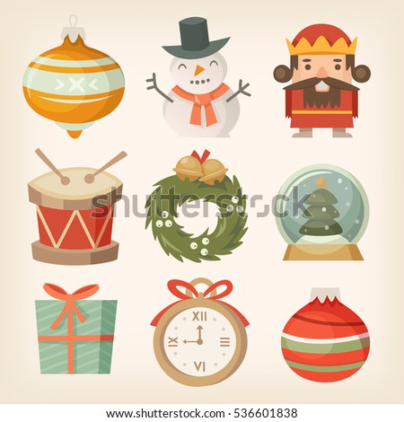 Retro Christmas Decorations Ornaments Toys Balls Stock Vector HD (Royalty  Free) 536601838   Shutterstock