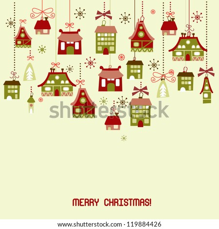 Retro Christmas Decorations. Background - stock vector