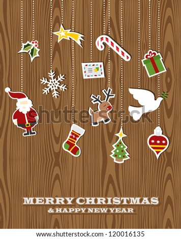 Retro Christmas hanging elements over wooden background. Vector illustration layered for easy manipulation and custom coloring.
