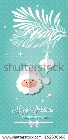 Retro Christmas Ornaments and trees. Vector illustration - stock vector