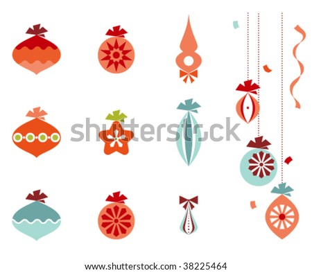 Retro christmas ornaments, ribbons and confetti.