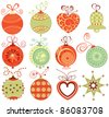 Retro Christmas ornaments set in traditional colors - stock photo