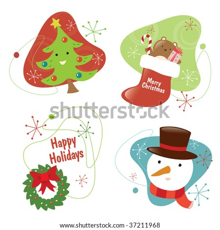 Retro Christmas Set 2 Isolated - stock vector