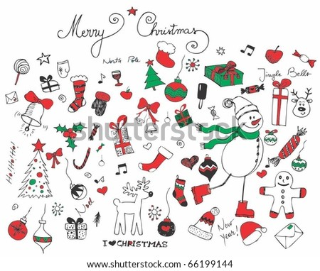 Retro Christmas set of elements - stock vector
