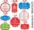 Retro Christmas Tag. Collection of Christmas design elements isolated on White background. Vector illustration - stock vector