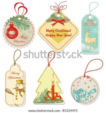 Retro Christmas tags - stock vector