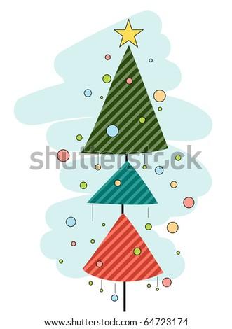 Retro Christmas Tree Design against White Background - stock vector