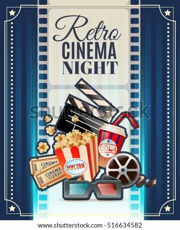 Retro cinema club night invitation poster stock vector 516634582 retro cinema club night invitation poster with movie theater tickets 3d glasses and popcorn snack vector stopboris Gallery