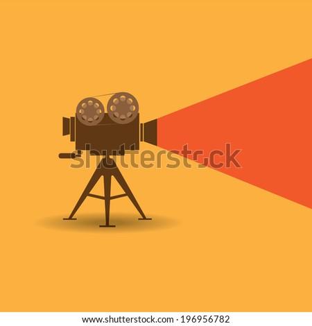 Retro cinema icon on orange background - stock vector