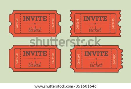 Retro cinema ticket icon. Flat style - stock vector