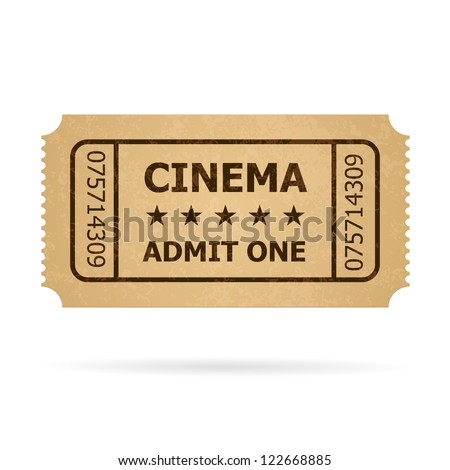 Retro cinema ticket. Illustration of designer on a white background.