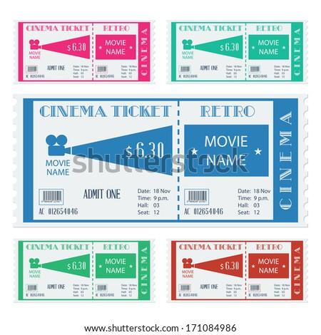 Retro cinema ticket. Vector illustration - stock vector
