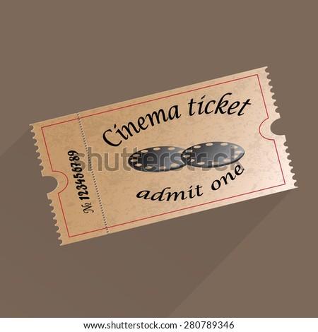 Retro cinema ticket. Vector illustration. - stock vector