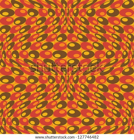 Retro Circles Pattern in Orange pattern of warped circles in orange, red, brown and yellow. - stock vector
