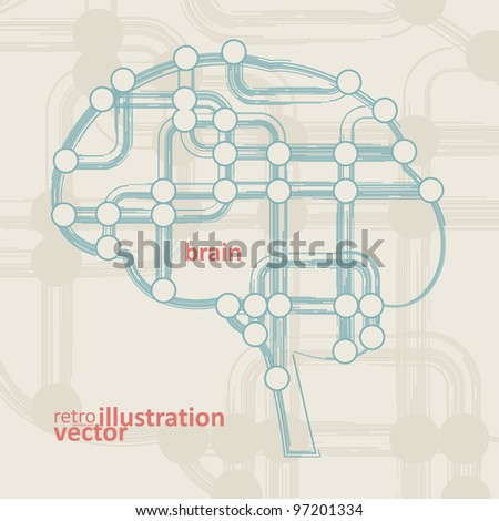 retro circuit board form of brain, technology illustration eps10 - stock vector