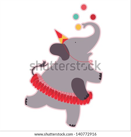 Retro circus animal isolated vector character. Elephant.