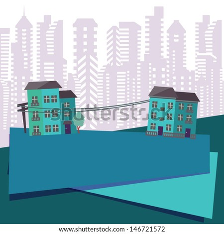 Retro city background with place for type - stock vector