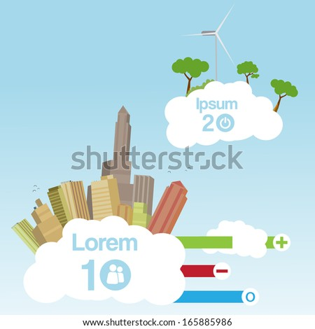 Retro City in the Clouds  Background with Infographic  - Vector Illustration - stock vector