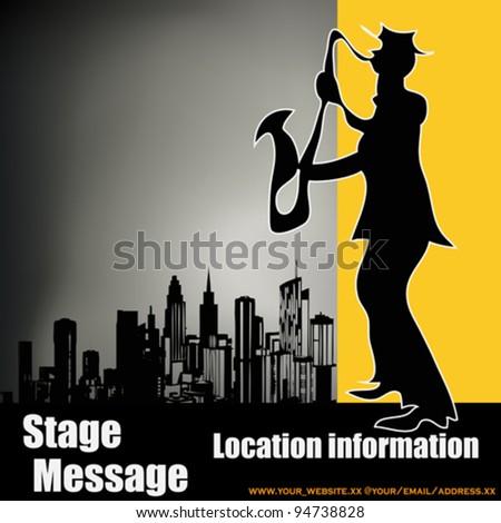 Retro City Sax Player, vector background - stock vector