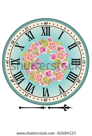 Retro clock dial with the Roman figures and pink roses. A dial and arrows are isolated on a white background - stock vector
