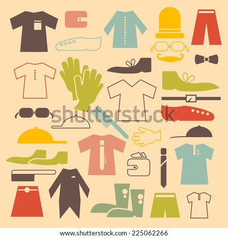 Retro Clothing Vector Flat Design Icons Set Vector Illustration