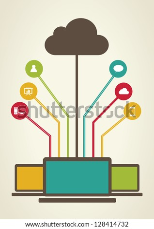 Retro Cloud computing concept design - stock vector