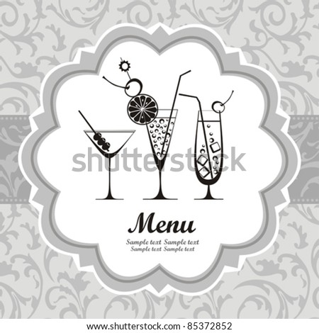 retro cocktail menu with glasses and place for your text. vector illustration - stock vector