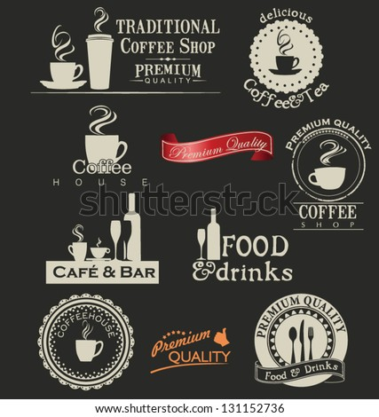 Retro coffee and restaurant labels - stock vector