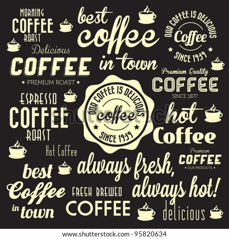 Retro Coffee Badges and Labels Collection. For High Quality Graphic Projects.