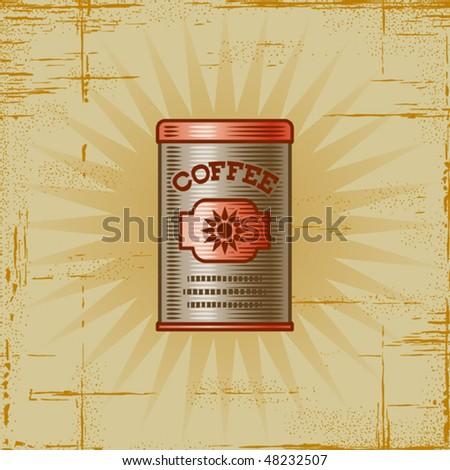 Retro Coffee Can. Vector - stock vector