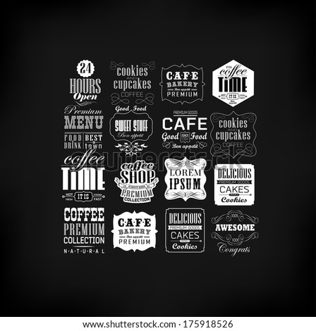 Retro Coffee  Labels and typography background . Coffee decoration collection - stock vector