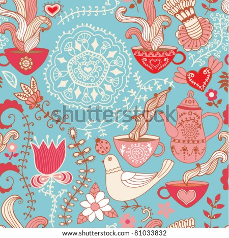 Retro coffee seamless pattern,  tea background - stock vector