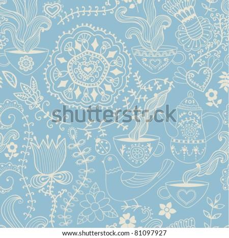 Retro coffee seamless pattern, tea background - stock vector